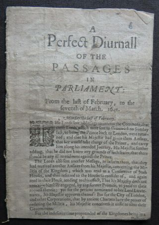 English Civil War Pamphlet 1642 Parliament Pecke February March News Bishops