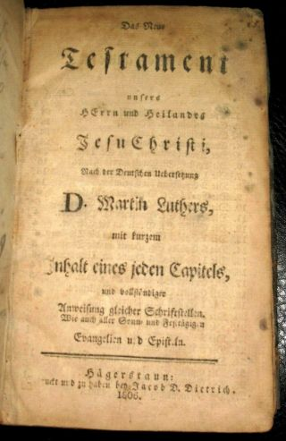 1806 Unrecorded 1st Md Holy Bible Testament Hagerstown Pennsylvania German