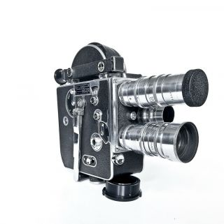Bolex Paillard H16 16mm Cine Camera W/ 3 Lenses,  Case,  Manuals And -