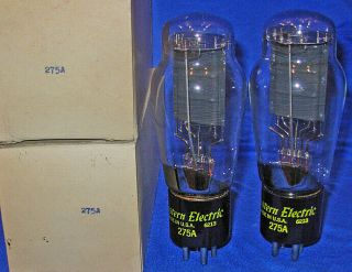 Nos / Nib Matched Pair Western Electric 275a Triode Tubes Same 1962 Date