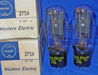 Nos / Nib Matched Pair Western Electric 275a Triode Tubes Same 1959 Date 2