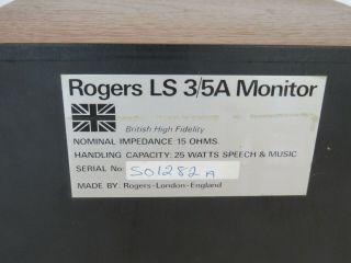 Rogers LS3/5A Gold Badge BBC Studio Monitor Speakers 7