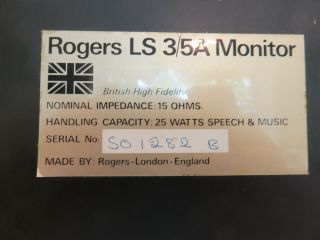 Rogers LS3/5A Gold Badge BBC Studio Monitor Speakers 8