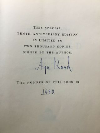 Atlas Shrugged Ayn Rand Signed Limited 10th Anniversary Edition 1690/2000 1967
