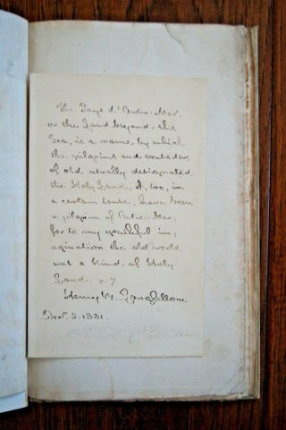 1833 Henry Wadsworth Longfellow.  1st Edition Of 1st Work - With Autograph Letter