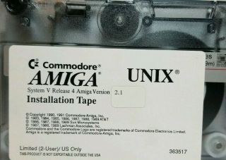 """Commodore Amiga Unix Installtion Tape Ver 2.  1 """" This Is A Hard To Find """""""
