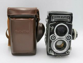 Rolleiflex 3.  5f Tlr Camera Model 3 Early 60s W/ Zeiss F3.  5 Planar 75mm