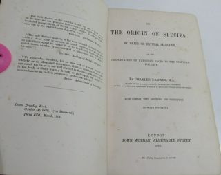 CHARLES DARWIN ORIGIN OF SPECIES/1861/3rd Ed.  with ADDITIONS & CORRECTIONS $10K, 3