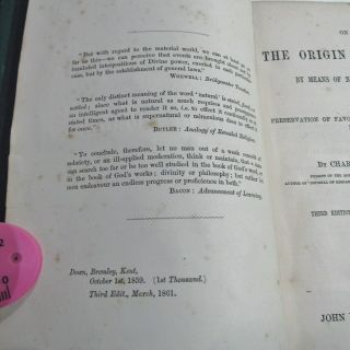 CHARLES DARWIN ORIGIN OF SPECIES/1861/3rd Ed.  with ADDITIONS & CORRECTIONS $10K, 8