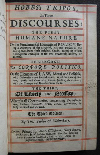 Thomas Hobbes 1684 Tripos Liberty Human Nature Will Political Philosophy