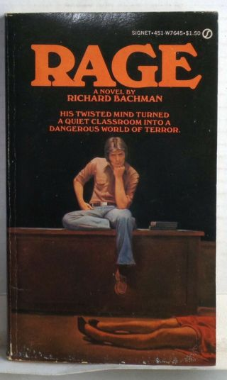 Rage Signet Book 1977 First Printing Horror Richard Bachman Stephen King