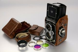 Rolleiflex 3.  5f With Case,  Strap And Filters