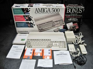 "Commodore Amiga 500,  With 2.  04 Rom,  1mb Ram,  Power Supply & Mouse "" Full Kit"