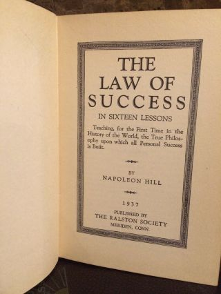 Napoleon Hill / The Law Of Success 1937 (Signed On Book) Complete 8 Book Set. 5