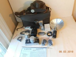 LEICA CAMERA M - 2 WITH 35mm,  50mm,  135mm LENS FLASH CASE & 3