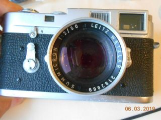 LEICA CAMERA M - 2 WITH 35mm,  50mm,  135mm LENS FLASH CASE & 8