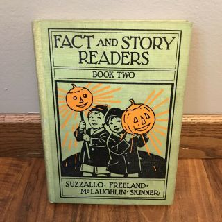 Vtg 1930 Fact And Story Readers Two 2 American School Book Halloween Pumpkins