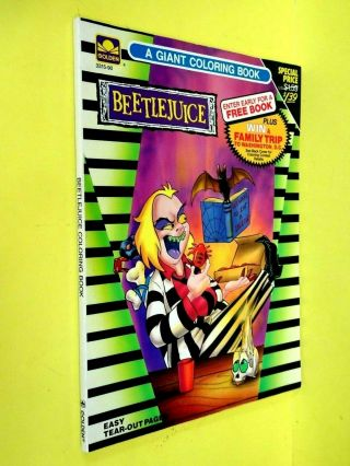 Vintage 1990 Coloring Book Beetlejuice 3515 90 - - Yellowed Pages - Golden