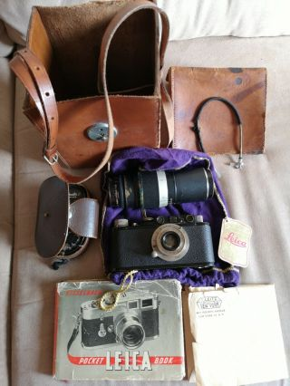Leica Leitz Wetzlar Ii ? Black Paint W/2 Lenses And Other Stuff 87214