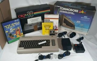 Commodore 64 Computer & Okimate 10 Printer W/ Boxes & Programs