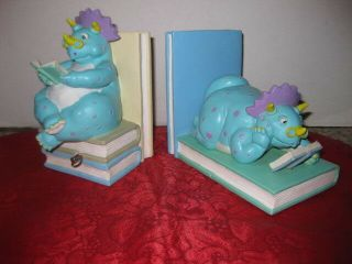 Vintage San Francisco Music Box Co Dinosaur Book Ends Plays My Favorite Things