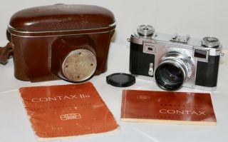 Contax Iia,  Zeiss Opton Sonnar 50mm F/1.  5 T Black Dial 1952 35mm Rangefinder