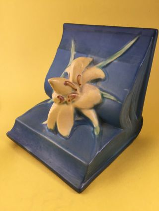 Vintage Art Deco Blue Zephyr Lily On A Book Roseville Pottery Bookend