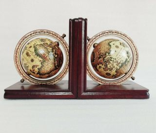 Vintage World Globe Book Ends Spinning Globe Map Wooden Base Bookends Retro