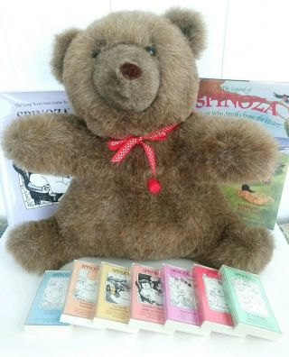 "Vtg 1985 Spinoza Therapy Bear 17 "" Autism Alzheimers With Books & 7 Audio Tapes"