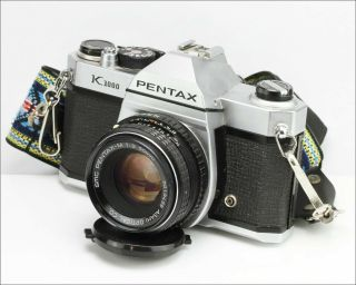 Vintage Film Camera Pentax K1000 W/ Pentax - M Lens 1:2 50mm & Flash Sunpak 121c