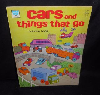 Vintage 1969 Whitman Cars And Things That Go Kids Coloring Book Trucks Plane