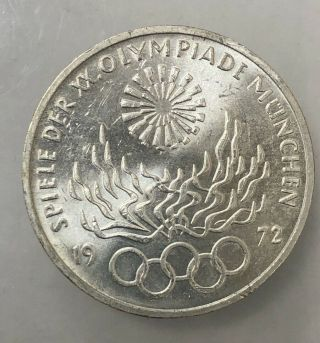 Germany 10 Mark 1972 F Munchen Olympic Games,  625 Silver Vintage Coin