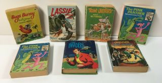 7 Vintage Big Little Books Pink Panther Invaders Lassie Grimms Bugs Bunny