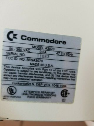 Rare Commodore Amiga 3070a 150mb Tape Drive