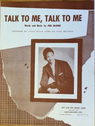 Little Willie John - Talk To Me,  Talk To Me - Vintage Sheet Music 1958 Joel Mcghee