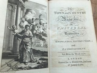 """1771 Leather Bound Book (town & Country Universal Repository """" Great Contents"""