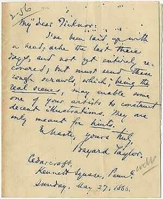 Autograph Note Signed Bayard Taylor To My Dear Ticknor