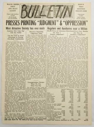 Bulletin March 1929 Presses Printing Judgement Andoppression Watchtower Jehovah