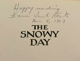 Signed Snowy Day Book Dust Jacket Ezra Jack Keats Blue Cloth Great Cond