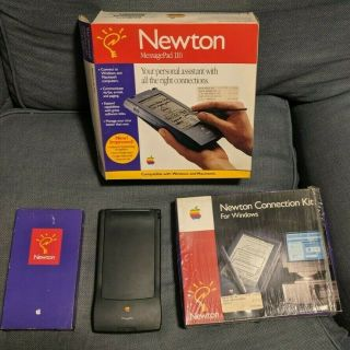 Apple Newton Messagepad 110,  Vhs,  And 2mb Memory Card