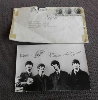 Vintage 1964 Beatles Photo Card Signed To Fan By Louise Harrison George