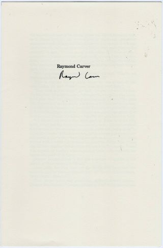 Raymond Carver Signed Page Leaf For If It Please You 1984 Limited Ed Small Press