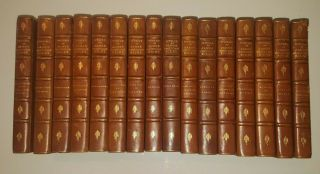 16 Leather Bound Vols Of James Whitcomb Riley Complete Scribner