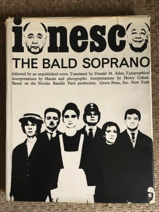 1965 1st Ed Vintage The Bald Soprano Eugene Ionesco Hardcover Book Hc/dj Hb