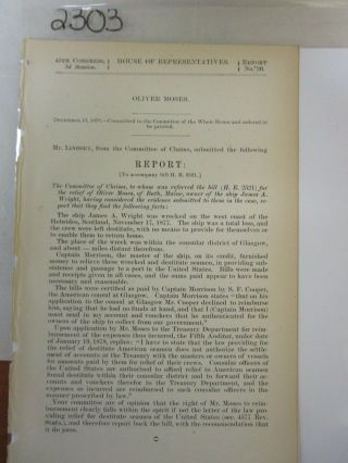 Govt Report 1877 Relief For Ship Wrecked Crew Of The James A Wright Vessel 2303