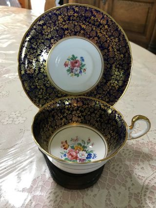 Vintage Aynsley Heavy Gold Gilt Floral Tea Cup & Saucer England