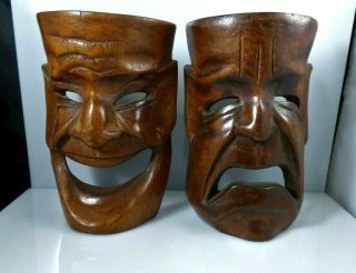 Vintage Pair Hand Carved Wood Comedy Tragedy Art Masks Actor Theater Decoration