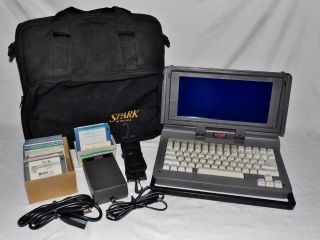 Rare Datavue Spark Portable Computer Laptop,  Power Source Case & 21 Floppy Disk