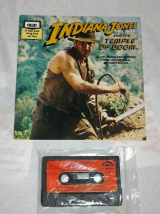 Vintage Indiana Temple Of Doom Read Along Book & Tape - Cassette - Rainbow 1984