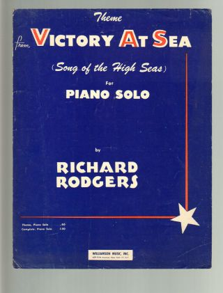 Victory At Sea Rodgers 1954 Tv Show Wwii Piano Theme Vintage Sheet Music Q23